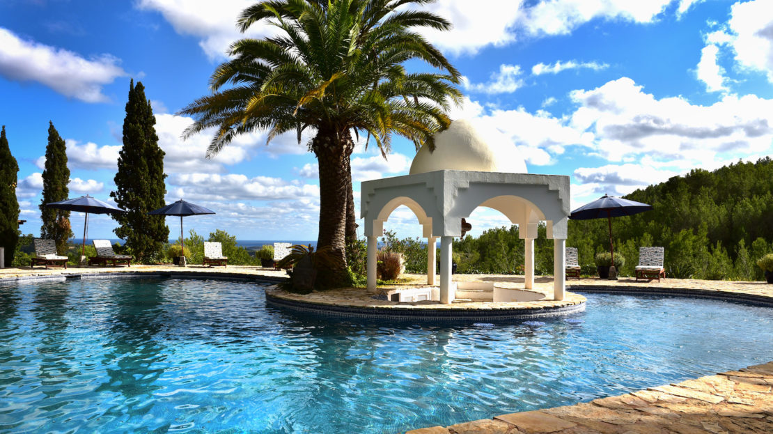 Family-friendly villa to rent in Ibiza, North island with total privacy, and sea views. Children welcome with a kid area, and the donkey park