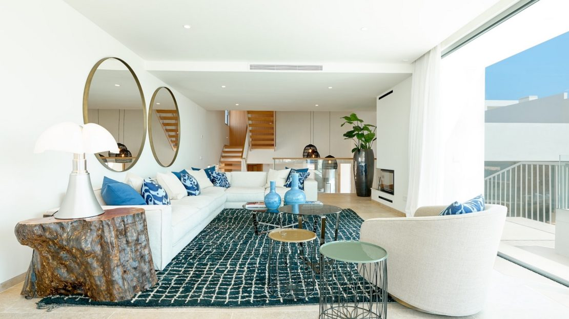 15 properties for sale in Cala Conta, sout west Ibiza. 5 ensuite bedroom. extensive outdoor space. 2 pools. Concierge service
