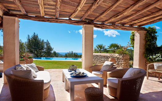 Charming villa with tennis court to rent next to San José, Ibiza island, Spain